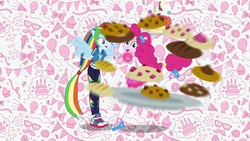 Size: 1920x1080 | Tagged: converse, cookie, equestria girls, equestria girls series, food, geode of sugar bombs, geode of super speed, intro, magical geodes, pinkie pie, ponied up, rainbow dash, safe, screencap, shoes