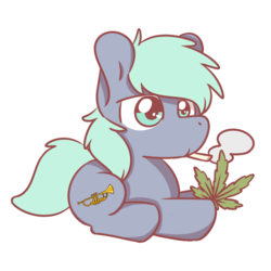 Size: 1280x1280 | Tagged: artist:sugar morning, chibi, cute, drugs, earth pony, lying down, marijuana, musical instrument, oc, oc:dee, oc only, pony, safe, simple background, smoking, solo, transparent background, trumpet