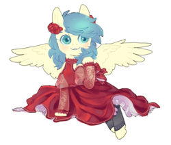 Size: 1280x1086 | Tagged: safe, artist:amphoera, oc, oc only, oc:venti via, pegasus, pony, blushing, clothes, dress, female, flower, flower in hair, lace, leggings, mare, simple background, smiling, solo, spread wings, white background, wings