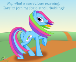 Size: 972x804 | Tagged: artist:oddymcstrange, dialogue, earth pony, female, g3, looking at you, looking back, looking back at you, mare, morning, plot, pony, rainbow dash (g3), raised hoof, safe, solo, underhoof