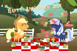 Size: 6000x4000 | Tagged: safe, artist:90sigma, artist:atnezau, artist:chainchomp2 edit, artist:estories, artist:steampunk-brony, artist:vectorshy, artist:zutheskunk traces, applejack, oc, oc:silverlay, earth pony, pony, unicorn, apple, apple brown betty (food), apple cider, apple fritter (food), apple tree, applejack day, beverage, brownie, cake, canon x oc, cider, cider mug, drink, drinking, drinking too much, eating, eyes closed, female, fence, food, happy, jam, lesbian, magic, mane six days, mare, messy eating, mug, orchad, orchard, overeating, picnic blanket, pie, plate, pointy ponies, shipping, silverjack, slice of cake, table cloth, tankard, that pony sure does love apples, that pony sure does love cakes, this will end in weight gain, tree, zap apple, zap apple cake, zap apple cupcake, zap apple jam