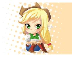 Size: 2048x1668 | Tagged: safe, artist:love2eategg, applejack, equestria girls, anime, blushing, boots, chibi, clothes, cute, female, human coloration, looking at you, shirt, shoes, simple background, skirt, smiling, solo, white background