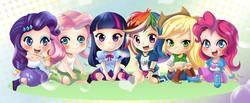Size: 3184x1316 | Tagged: safe, artist:love2eategg, applejack, fluttershy, pinkie pie, rainbow dash, rarity, twilight sparkle, alicorn, equestria girls, anime, chibi, clothes, cute, dashabetes, diapinkes, human coloration, jackabetes, mane six, raribetes, shyabetes, skirt, tanktop, twiabetes, twilight sparkle (alicorn)