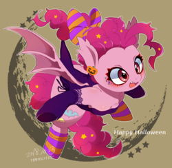 Size: 1500x1464 | Tagged: artist:mamechi, bat ponified, bat pony, bat wings, bow, clothes, fangs, female, hair bow, hair ribbon, halloween, holiday, hooves, jack-o-lantern, mare, open mouth, pinkiebat, pinkie pie, pony, pumpkin, race swap, safe, socks, solo, striped socks, wings