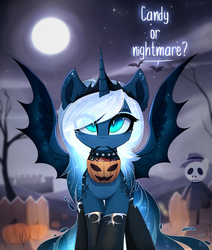 Size: 1024x1206 | Tagged: safe, artist:magnaluna, princess luna, alicorn, bat pony, bat pony alicorn, pony, alternate hairstyle, choker, clothes, crown, cute, dialogue, female, full moon, goth, gothic, halloween, holiday, jewelry, lunabetes, mare, moon, mouth hold, night, night sky, pumpkin bucket, regalia, sky, socks, solo, spiked choker, spread wings, stars, trick or treat, wings