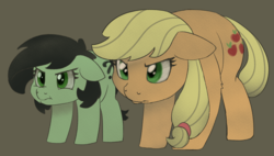 Size: 1726x979 | Tagged: safe, artist:lockhe4rt, applejack, oc, oc:filly anon, earth pony, pony, adoranon, angry, behaving like a cat, brown background, cutie mark, duo, female, filly, floppy ears, hatless, mare, missing accessory, scrunchy face, simple background