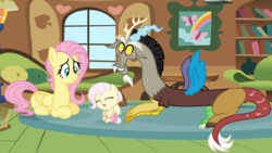 Size: 2230x1262 | Tagged: artist:nocturna76, baby, base used, discord, discoshy, female, fluttershy, fluttershy's cottage, hybrid, indoors, interspecies offspring, male, oc, oc:harmony, offspring, parent:discord, parent:fluttershy, parents:discoshy, pony, prone, safe, shipping, straight