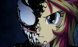 Size: 2356x1440 | Tagged: artist:ngrycritic, clothes, crossover, equestria girls, female, marvel, safe, sunset shimmer, sunset shimmer day, venom