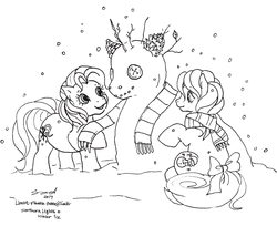Size: 1280x1044 | Tagged: safe, artist:conphettey, northern lights (g3), pony, g3, lineart, monochrome, snowman, winter ice