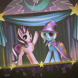 Size: 3520x3520   Tagged: safe, artist:mirroredsea, starlight glimmer, trixie, pony, unicorn, cute, diatrixes, duo, duo female, female, glimmerbetes, magic show, mare, smiling, stage