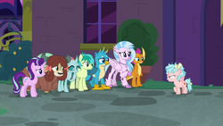 Size: 1280x720 | Tagged: safe, screencap, cozy glow, gallus, ocellus, sandbar, silverstream, smolder, starlight glimmer, yona, changedling, changeling, classical hippogriff, dragon, earth pony, griffon, hippogriff, pegasus, pony, unicorn, yak, school raze, angry, bow, claws, cloven hooves, colored hooves, cozy glow is not amused, cutie mark, dragoness, female, filly, foal, hair bow, jewelry, male, mare, monkey swings, necklace, student six, teenager, wings