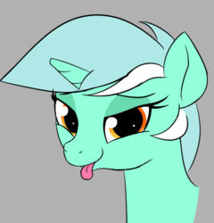 Size: 477x497   Tagged: safe, artist:wenni, lyra heartstrings, pony, unicorn, :p, bedroom eyes, bust, female, gray background, looking at you, mare, mlem, silly, simple background, smiling, solo, tongue out