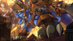 Size: 1280x720 | Tagged: safe, artist:eztp, ork, ursa major, armor, building, city, commission, crossover, destruction, fanfic art, fire, lightning, open mouth, roar, solo, video game crossover, warhammer (game), warhammer 40k