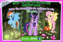 Size: 797x529 | Tagged: advertisement, alicorn, bat ponified, bat pony, bat pony alicorn, bone, facebook, flutterbat, fluttershy, gameloft, halloween, holiday, jack-o-lantern, nightmare night, night of the living apples, official, pumpkin, race swap, rainbowbat, rainbow dash, safe, spoiler:comic, spoiler:comic33, sweepstakes, twibat, twilight sparkle, twilight sparkle (alicorn)