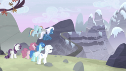Size: 1440x810 | Tagged: safe, screencap, double diamond, night glider, party favor, pinkie pie, rainbow dash, rarity, starlight glimmer, sugar belle, earth pony, pegasus, pony, unicorn, the cutie map, equal cutie mark, equal four, female, flying, male, mare, mountain, ridge, snow, stallion