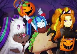 Size: 2961x2094 | Tagged: safe, artist:villaincorner, adagio dazzle, aria blaze, sonata dusk, equestria girls, animal costume, bedsheet ghost, candy, cat costume, clothes, costume, eyes closed, fangs, female, food, ghost costume, halloween, halloween costume, holiday, jack-o-lantern, night, pumpkin, pumpkin bucket, smiling, sonataco, taco, taco costume, the dazzlings, trick or treat