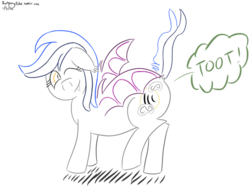 Size: 500x375 | Tagged: safe, artist:batponyecho, oc, oc only, oc:echo, bat pony, fart, fart noise, looking at you, male, one eye closed, onomatopoeia, raised tail, solo, sound effects, tail, wink
