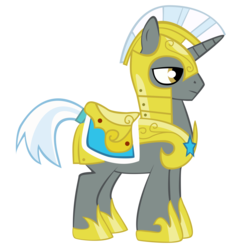 Size: 6000x6000   Tagged: safe, artist:miketueur, pony, unicorn, absurd resolution, armor, helmet, hoof shoes, male, royal guard, royal guard armor, saddle, simple background, solo, stallion, tack, tail wrap, transparent background, unicorn royal guard, vector
