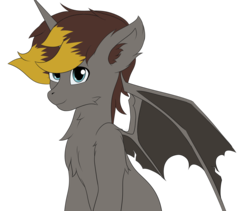 Size: 2559x2160 | Tagged: safe, artist:drarkusss0, oc, oc only, oc:geartooth, alicorn, bat pony, bat pony alicorn, hybrid, pony, unicorn, bat ponified, bat pony oc, chest fluff, ear fluff, male, race swap, simple background, solo, stallion, transparent background, wings