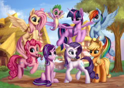Size: 6880x4860 | Tagged: safe, artist:setharu, applejack, fluttershy, pinkie pie, rainbow dash, rarity, spike, starlight glimmer, twilight sparkle, alicorn, dragon, earth pony, pegasus, pony, unicorn, absurd resolution, chest fluff, cowboy hat, cute, cutie mark, female, flying, grass, group photo, happy, hat, heart, lidded eyes, looking at each other, looking at you, looking back, looking down, looking up, male, mane eight, mane seven, mane six, mare, open mouth, plot, ponyville, pronking, raised hoof, raised leg, sitting, sky, smiling, smirk, spread wings, tree, twilight sparkle (alicorn), underhoof, winged spike, wings
