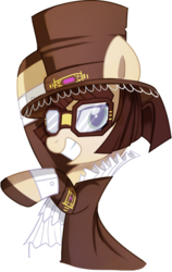 Size: 572x903 | Tagged: artist:pepooni, brown mane, buck legacy, female, gem, glasses, goggles, hat, jabot, jewel, jewelry, looking at you, mare, oc, oc:master engineer chet, oc only, pony, ruff (clothing), safe, simple background, solo, steampunk, top hat, transparent background