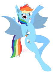 Size: 1447x2047 | Tagged: anthro, arm hooves, artist:棘有棘無棘棘, bat ponified, bat pony, female, mare, race swap, rainbowbat, rainbow dash, safe, semi-anthro, simple background, solo, white background