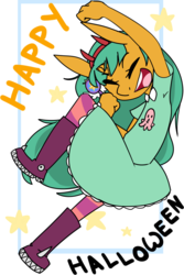 Size: 1279x1920 | Tagged: safe, artist:kryptchild, snails, anthro, boots, clothes, cosplay, costume, crossdressing, crossover, dress, glitter shell, halloween, halloween costume, holiday, male, shoes, socks, solo, star butterfly, star vs the forces of evil