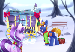 Size: 1024x712 | Tagged: safe, artist:scarlet-spectrum, starlight glimmer, oc, oc:rising dusk, pony, unicorn, bench, bow, bowtie, christmas, christmas lights, clothes, coffee, cup, decoration, drink, duo, female, holiday, jacket, magic, male, mare, open mouth, rock, scarf, smiling, snow, stallion, telekinesis, tree, tree branch, trixie's wagon, wagon, wheel, window, winter