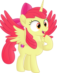 Size: 5927x7611 | Tagged: absurd res, alicorn, alicornified, apple bloom, artist:kopcap94, bloomicorn, colored wings, colored wingtips, female, filly, foal, happy, horn, open mouth, pointing at self, pony, race swap, safe, simple background, solo, spread wings, .svg available, transparent background, vector, wings, xk-class end-of-the-world scenario