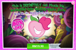 Size: 1043x689 | Tagged: safe, pinkie pie, night of the living apples, spoiler:comic, spoiler:comic32, advertisement, apple, apple pinkie, costs real money, food, gameloft, grin, official, smiling, species swap
