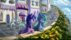 Size: 1920x1080   Tagged: safe, artist:plainoasis, princess luna, twilight sparkle, alicorn, earth pony, pony, unicorn, canterlot, disguise, duo focus, female, looking at each other, mare, outdoors, street