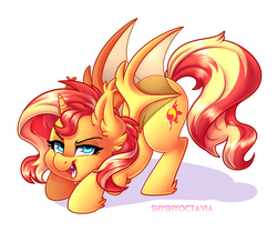 Size: 2958x2467 | Tagged: alicorn, alicornified, artist:shyshyoctavia, bat ponified, bat pony, bat pony alicorn, female, mare, pony, race swap, safe, shimmerbat, shimmercorn, simple background, solo, sunset shimmer, white background