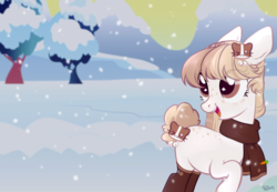 Size: 1445x1000 | Tagged: safe, artist:lothard juliet, oc, oc only, earth pony, pony, clothes, female, mare, open mouth, scarf, snow, socks, solo, wingding eyes, winter