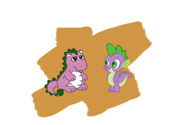 Size: 391x284 | Tagged: safe, artist:anonycat, spike, spike (g1), dragon, 35th anniversary, g1, simple background, traditional art