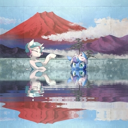 Size: 1280x1280   Tagged: safe, artist:toki, edit, princess celestia, princess luna, alternate hairstyle, bath, cloud, cute, duo, eyes closed, hair up, hot springs, mountain, reflection, relaxing, ripple, smiling, tongue out, towel, water
