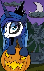 Size: 2984x4848 | Tagged: safe, artist:monsterglad, nightmare moon, princess luna, pony, andy price style, cloud, crescent moon, female, halloween, holiday, i can't believe it's not idw, jack-o-lantern, mare, moon, night, nightmare night, pumpkin, solo, statue, style emulation
