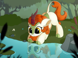 Size: 3000x2230 | Tagged: safe, artist:anti1mozg, artist:negasun, autumn blaze, kirin, sounds of silence, awwtumn blaze, cloven hooves, collaboration, colored hooves, cute, ear fluff, female, floppy ears, grass, leg fluff, lilypad, looking down, nature, pond, reflection, scenery, smiling, solo, water