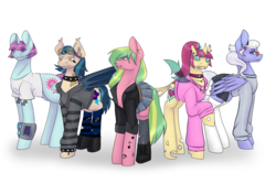 Size: 4500x3000 | Tagged: alternate version, artist:blacksky1113, bat ponified, bat pony, boots, changedling, changeling, changelingified, choker, clothes, commission, crystal prep shadowbolts, ear piercing, earring, earth pony, equestria girls ponified, eyebrow piercing, eyeshadow, fangs, female, freckles, glasses, goggles, group, headband, headcanon, hoodie, indigo zap, jacket, jewelry, leather jacket, lemon zest, lip piercing, makeup, mare, necklace, pegasus, piercing, plaid skirt, pleated skirt, ponified, pony, race swap, raised hoof, safe, shadow five, shirt, shoes, simple background, skirt, snake bites, socks, sour sweet, species swap, spiked choker, spiked wristband, stockings, striped socks, sugarcoat, sunny flare, sunny flare's wrist devices, sweater, tattoo, thigh highs, t-shirt, unicorn, white background, white socks, wristband