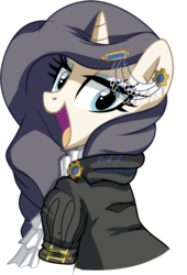 Size: 529x777 | Tagged: artist:pepooni, blue eyes, buck legacy, female, jabot, jewel, jewelry, looking at you, mare, not rarity, oc, oc only, oc:queen lunanne, pony, purple hair, safe, simple background, solo, transparent background, unicorn