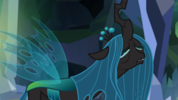 Size: 1360x765 | Tagged: safe, screencap, ocellus, queen chrysalis, changedling, changeling, changeling queen, season 8, what lies beneath, adorkable, breakdown, crying, crysalis, cute, cutealis, diaocelles, disguise, disguised changeling, dork, dorkalis, drama queen, eyes closed, faic, fangs, female, frown, implied chrysalis, majestic as fuck, mare, nightmare cave, open mouth, sad, sadorable, sobbing, solo, spread wings, tantrum, teary eyes, whining, wings