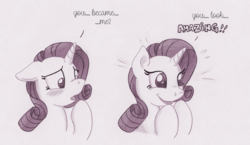 Size: 1381x800 | Tagged: artist:foxxy-arts, blushing, bust, confused, dialogue, excited, floppy ears, hoof over mouth, monochrome, open mouth, part of a series, part of a set, pony, portrait, rarity, safe, simple background, smiling, solo, traditional art, unicorn, white background