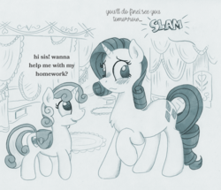 Size: 1163x1000 | Tagged: artist:foxxy-arts, blushing, carousel boutique, chest fluff, dialogue, door slam, duo, monochrome, oc, oc:foxxy hooves, offscreen character, part of a series, part of a set, pony, raised hoof, rarity, saddle bag, safe, smiling, sound effects, sweetie belle, traditional art, transformed, twinning, unicorn