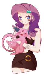 Size: 800x1210 | Tagged: artist:seviyummy, blushing, crossover, cute, deviantart watermark, equestria girls, espeon, eyes closed, female, human coloration, looking at you, obtrusive watermark, pokémon, raribetes, rarity, safe, simple background, transparent background, watermark, ych result