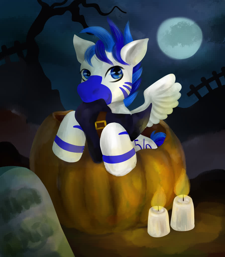 1867208 Artist Cybergod Candle Full Moon Halloween Hat Holiday Hybrid Male Moon Oc Oc Fifty Percent Pony Pumpkin Safe Stallion Witch Hat Ych Result Zebra Zebra Oc Zony Derpibooru
