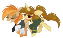 Size: 2500x1528 | Tagged: alicorn, artist:nemovonsilver, clothes, earth pony, eyes closed, female, jacket, mare, necktie, oc, oc:katya ironstead, oc only, oc:parlay, pony, safe, shirt, simple background, transparent background, vest, walking
