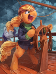 Size: 1770x2328 | Tagged: safe, artist:audrarius, applejack, rarity, earth pony, pony, unicorn, ppov, absolute madman, bipedal, captain jackbeard, clothes, cloud, coat, duo, duo female, faic, female, freckles, gritted teeth, hat, helm, mare, nervous, no way yes way, open mouth, pirate, quarterdeck, rain, sailship, scene interpretation, ship, shrunken pupils, storm, sweater, water, wave, windblown, windswept mane