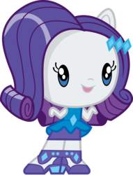 Size: 3000x3936 | Tagged: safe, artist:cloudyglow, rarity, equestria girls, equestria girls series, chibi, clothes, cute, cutie mark crew, high heels, open mouth, raribetes, shoes, simple background, skirt, solo, toy, transparent background
