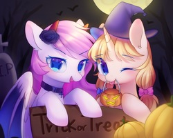 Size: 2000x1600 | Tagged: safe, artist:leafywind, oc, oc only, pony, unicorn, :p, clothes, costume, duo, female, full moon, halloween, halloween costume, hat, holiday, jack-o-lantern, mare, moon, night, one eye closed, open mouth, pumpkin, pumpkin bucket, sign, silly, smiling, tongue out, wink, witch hat
