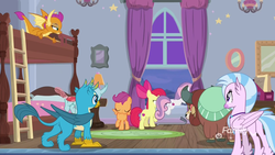 Size: 1920x1080 | Tagged: safe, screencap, apple bloom, gallus, ocellus, scootaloo, silverstream, smolder, sweetie belle, yona, changedling, changeling, classical hippogriff, dragon, earth pony, griffon, hippogriff, pegasus, pony, unicorn, yak, school raze, bow, bunk bed, claws, cloven hooves, dragoness, female, filly, foal, hair bow, jewelry, ladder, male, monkey swings, necklace, paws, tail, window, wings
