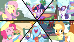 Size: 1920x1080 | Tagged: alicorn, applejack, best gift ever, clothes, earmuffs, female, fluttershy, glasses, hat, mane six, mare, one of these things is not like the others, pinkie pie, pony, rainbow dash, rarity, safe, scarf, screencap, snow, split screen, spoiler:best gift ever, twilight sparkle, twilight sparkle (alicorn)